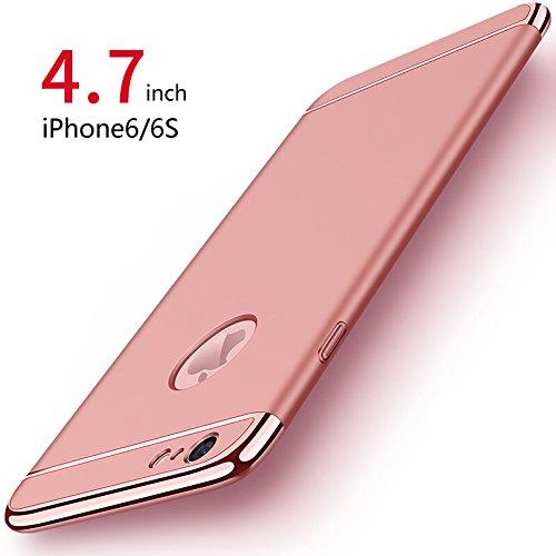 PRO-ELEC Ultra dünn Kompatibel mit iPhone 6/6s Hülle [ mit Gehärtetem Glas Displayschutz ] Hochwertigem Stoßfest Handyhülle, Rose Gold