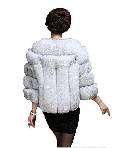 YR Lover Damen Echter Echter Fuchs Pelz Kurz Mantel Jacket White