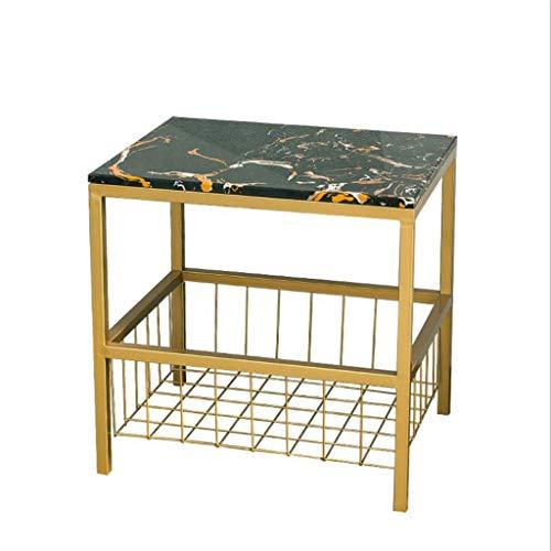 Viktorianischen Esszimmer-möbel (T-Day Beistelltische Nachttisch Tische Couchtisch Quadratischer Couchtisch Seite, Wohnzimmer Sofa Marmorseite mit Ablageboden, 40 * 50 * 50 cm (Color : A))