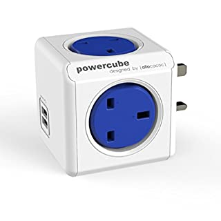 Powercube 7200BL/UKOUPC 240V 4-Way Power Strip with Original USB - Blue