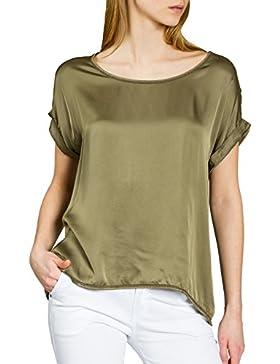 CASPAR Fashion Caspar BLU017 Blusa de Verano Elegante con Mangas Cortas/Camiseta de Seda (Rayon) y Viscosa