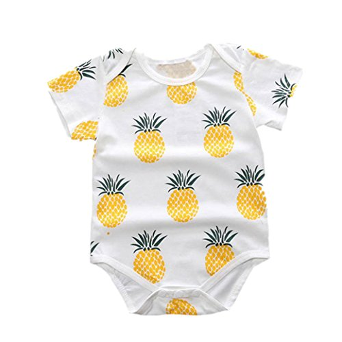 Bekleidung Longra Baby Junge Mädchen Baumwoll-Strampler Overall Bodysuit Neugeborenen Baby Sommer Kleidung Outfit(0-24Monate) (60CM 6Monate, A) - Baby Sommer Kleidung