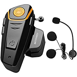 Intercom Moto Bluetooth, BETOWEY BT-S2 Kit Oreillette Bluetooth Casque Moto Interphone Main Libre - 1 Pack, Microphone Dur
