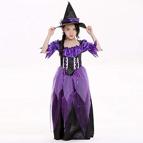 ZXX5211 Erwachsene Kinder Halloween Mitternacht Magie Hexe Kostüm Dame Maskerade Lila Kleid Phantasie Cosplay Kostüm Mädchen, - Mitternacht Vampir Kostüm Kind