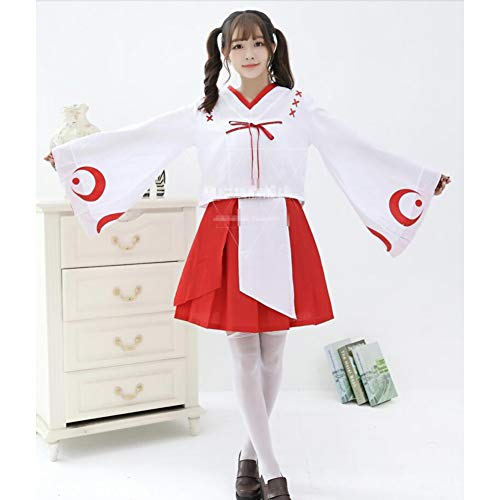 QAQBDBCKL Japanische Inuyasha Cosplay Kikyo Cos Halloween Hexe Bliss Pure Land Cartoon Kimono Mädchen Lolita Süße Set Top + Rock