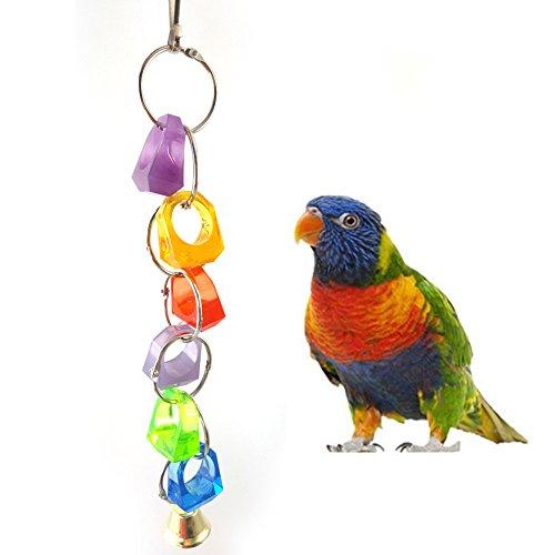 Huhuswwbin Vogelschaukel für Papageien, bunt, Ringer, zum Aufhängen, Schaukel, Klettern, Kauring, Glockenspielzeug, zufällige Farbe