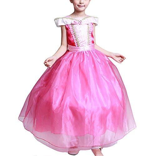 �dchen Kleider Brosche Dornröschen Aurora Prinzessin Kleid Drop shoulder Cosplay Kostüme (Herstellergröße: 150cm) (Aurora Kostüm Kind)