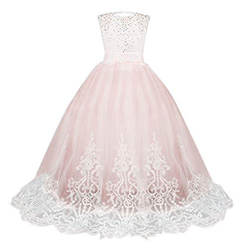 Blumenmädchen Hochzeit Kinder 5-13 Jahre alt Mädchen Tutu Kleid Spitzeblumenmädchenkleid Partykleid nachlauf Kleid Zeigen Dornröschen(Rosa, 150)