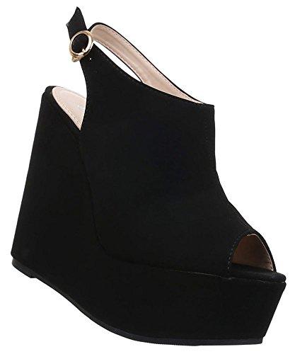 Damen Pumps Schuhe Keilabsatz Sandaletten Wedges Plateau Schwarz Beige Rosa 36 37 38 39 40 41 Schwarz