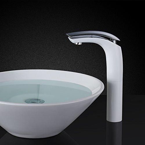 Homelody – Design-Waschtischarmatur, Einhebelarmatur, ohne Ablaufgarnitur, hoher Auslauf, Weiß-Chrom - 8