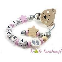 Schnullerkette mit Namen für Mädchen mit Bären-Clip, Stern und Motivperle Füßchen - rosa, weiß, natur, silber