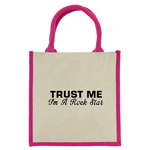 Bon Shopper (Trust Me I 'm A Rock Star in schwarz print Jute Midi Einkaufstasche mit Pink Griffe und Trim)