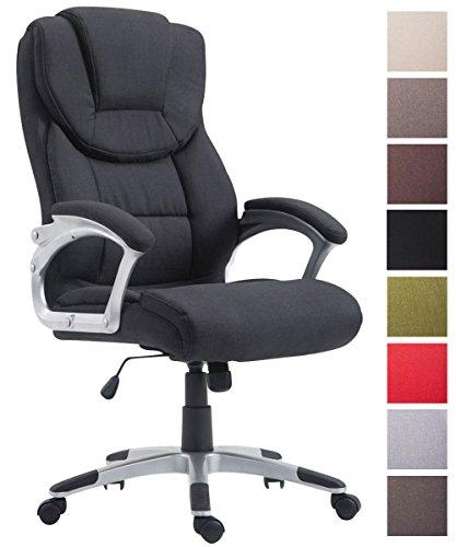 CLP Bürostuhl XL Texas V2, Stoffbezug, Chefsessel mit Wippmechanismus, max. Belastbarkeit 180 kg, Drehstuhl mit Armlehnen, hochwertige Polsterung Schwarz
