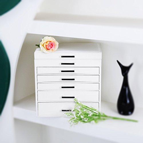 Songmics Schmuckschatulle Schmuckkästchen 6 Ebenen mit 5 Schubladen Spiegel JBC138 -