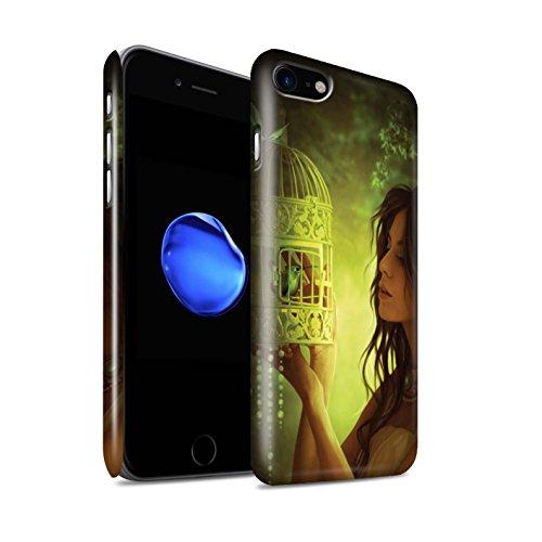 Officiel Elena Dudina Coque / Clipser Brillant Etui pour Apple iPhone 8 / Coucher Soleil Design / Les Oiseaux Collection Volons-Nous/Cage