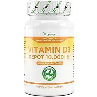 Vitamin D3 10.000 I.E. Depot 365 Tabletten - Hochdosiert - 10 Tagesdosis - 1000 I.E. pro Tag - Vitamin D - Alle 10 Tage eine Tablette - Vit4ever