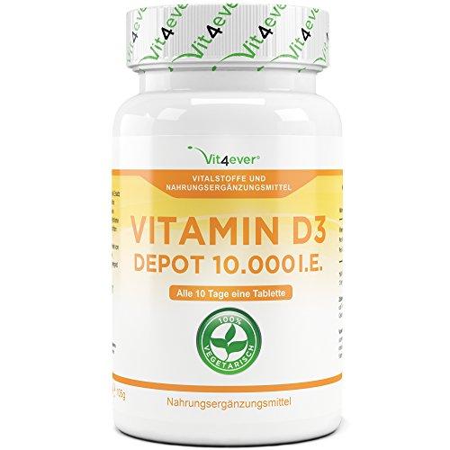 Vitamin D3 10.000 I.E. Depot 365 Tabletten - Hochdosiert - 10 Tagesdosis - 1000 I.E. pro Tag - Vitamin D - Alle 10 Tage eine Tablette - Vit4ever (Vitamin-d-ergänzung)
