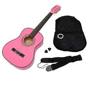 Ts-ideen 5251 Guitare acoustique 1/4 pour Enfant avec poche/Courroie/Corde/Plectre Rose