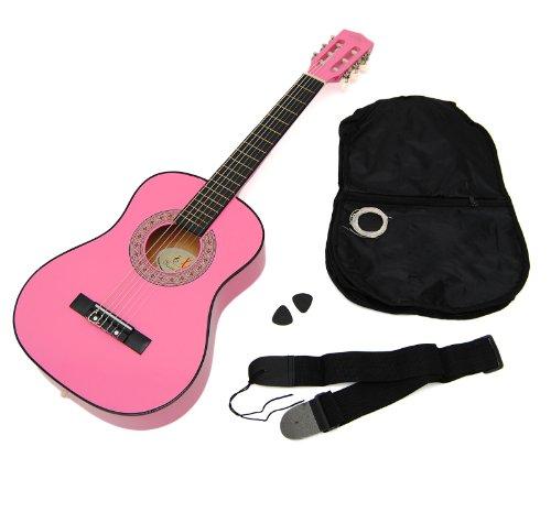 Ts-Ideen 5251 Kindergitarre 1/4 Akustik Gitarre für circa 4-7 Jahre mit Tasche und Gurt/Saiten/Plek pink/rosa
