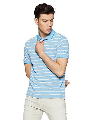 Peter England Men's Striped Regular Fit T-Shirt (PKW51709671XXL_LightblueWithYellow_XX-Large)