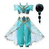 Pettigirl Mädchen Blau Paillette Klassisch Prinzessin Ankleiden Kostüm Outfit (9-10 Jahre, Kostüm mit Perücke)