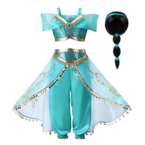 Pettigirl Mädchen Blau Paillette Klassisch Prinzessin Ankleiden Kostüm Outfit (11-12 Jahre, Kostüm mit Perücke)