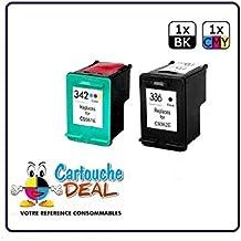Cartouche Deal ® - Juego de 2 cartuchos de tinta genéricos HP336 HP342 Deskjet 5400 Series 5440 5440 PSC 1500 1510 1510S 1513 1545 3180 - HP 336 HP 342