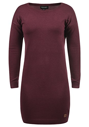 DESIRES Ella Damen Strickkleid Feinstrickkleid Kleid Mit Rundhals, Gre:L, Farbe:Wine Red Melange