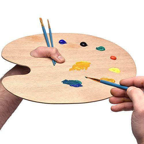 Artina Paleta Redonda - 25x30 cm - Paleta de Mezcla de Colores con Orificio - para Arte y Pintura