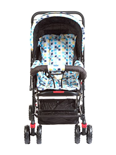 Mee Mee Baby Pram with Adjustable Seating Positions and Reversible Handle (Light Blue)