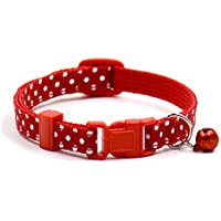 Sobotoo Venta Caliente. Collar de Campana para Mascotas, Collares con Diseño de Lunares y Gatos para Perro, Collar Ajustable para Perro, Gatito, Cachorro