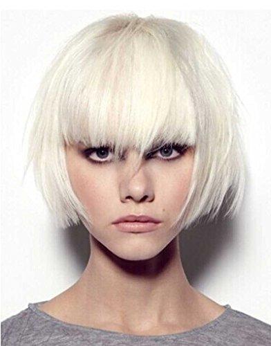 Tsnomore Trendy Dapper Kurz Glatt Weiß Blonde Frauen Bob Vollständige Bang Perücke