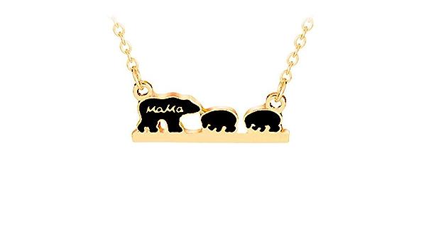 Muttertag Tier Mama Bär Anhänger Halskette Beliebter Schmuck Einzigartige xfu
