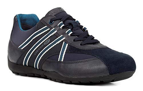 Geox U743FB Uomo Ravex Sportlicher Herren Sneaker, Schnürhalbschuh, Freizeitschuh, Atmungsaktiv, Herausnehmbare Innensohle Blau (Navy/Petrol), EU 41