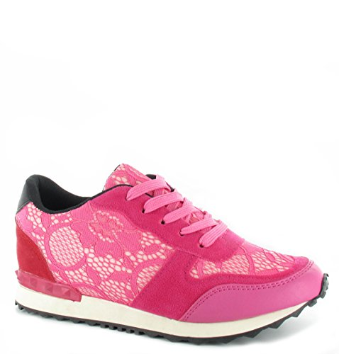 Femme Gym Sport Course Fashion dentelle Baskets Sneakers Neuf Tailles 3–8 Rose