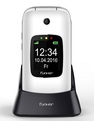 Funker C85 Teléfono Móvil Easy Comfort con Tapa para Personas Mayores con Botón SOS y Base Cargadora, Blanco
