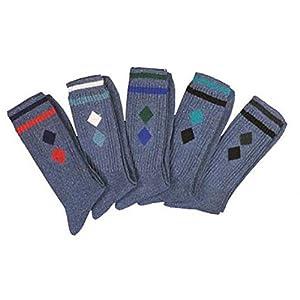 5 Paar Tennissocken stahlblau jeans-dunkel mit ringeln und motiv,CH-929