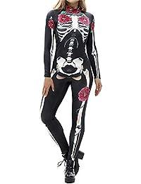 Bloomma Mujeres 3D Esqueleto de impresión Apretado Catsuit de una Sola Pieza para Halloween Cosplay