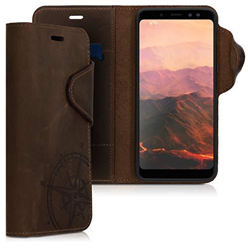 kalibri Samsung Galaxy A8 (2018) Hülle - Leder Handyhülle für Samsung Galaxy A8 (2018) - Handy Wallet Case Cover