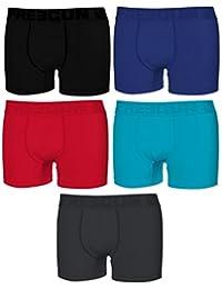 Freegun- Boxer homme par 5 en coton couleur uni. Ultra confort