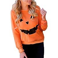 Hiroo Halloween Mujeres Calabaza Impresión Suéter Blusa de color sólido O-neck Sudadera de manga larga naranja Blusas de algodón Jersey Casual camiseta suelta Ideal para la vida diaria Fiesta de Halloween (Naranja, S)