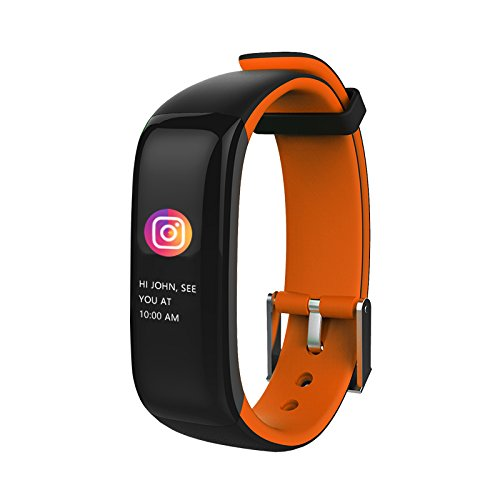 Aupalla Kinder Aktivitätstracker mit Herzfrequenzmesser, intelligente Gesundheitsuhr für Mädchen und Jungen, Orange + Schwarz