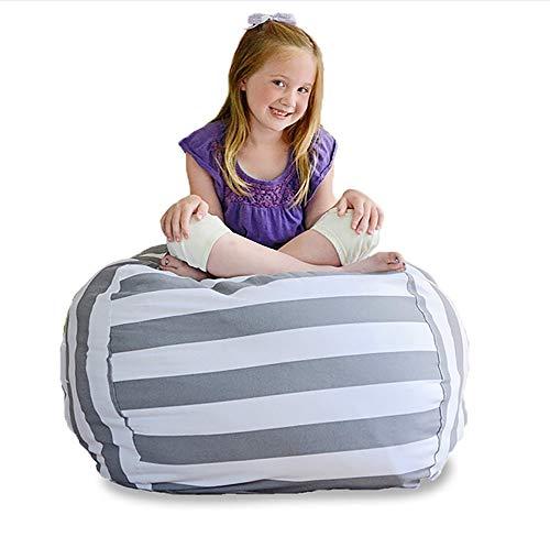 """ZLQF Creative Extra Large Stuff \'N Sit - Stofftier Lagerung Sitzsack Stuhl Für Kinder - Hocker Für Spielzeug Lagerung - Erhältlich In Einer Vielzahl Von Größen Und Farben (38\"""", Grau/Weiß Gestreift)"""