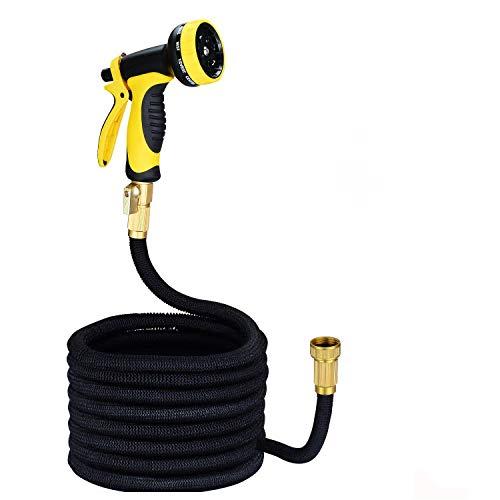 HomeYoo flexiSchlauch - Flexibler Gartenschlauch, 25FT Wasserschlauch Bewässerung Stretch Schlauch ausdehnbar mit 9 Arten Brause für Gartenarbeit Autowäsche Reinigung, Adapter aus Messing (25ft)