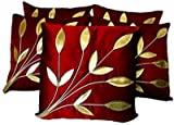 MEHROON LEAFE CUSHION COVER 16*16