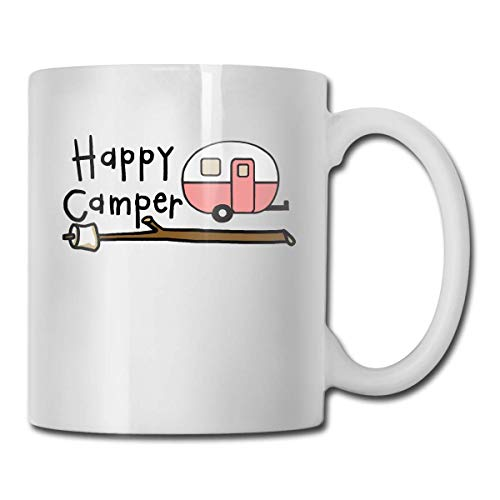 Daawqee Becher Coffee Mug Car Happy Camper Mug Funny Ceramic Cup for Coffee and Tea with Handle, White - Happy Becher Camper