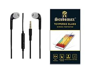 Scudomax Premium Combo of Tempered Glass Screen Protector and Scudomax Premium 3.5mm Stereo Dynamic Black Earphones For Sony Xperia M4 Aqua