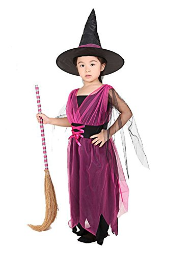 MissFox Halloween Kinder Elegent Rose Klein Hexe Kostüm 10-12 Jahre (Rose Hexe Kostüm)