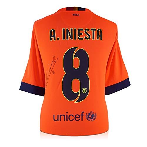 Exclusive Memorabilia Das Trikot von Barcelona 2014-15 wurde von Andres Iniesta unterzeichnet -