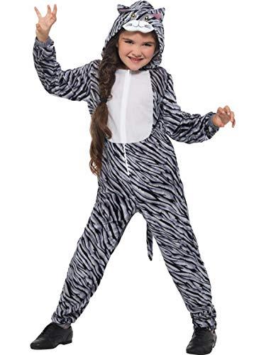 Luxuspiraten - Kinder Jungen Mädchen Kostüm Gestreifte Plüsch Katze Tabby Cat Fell Einteiler Onesie Overall Jumpsuit, perfekt für Karneval, Fasching und Fastnacht, 140-152, (Katze Schwarz Plüsch Kostüm)